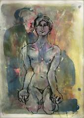auf den Knien mit geballten Fausten (Alemwa) Tags: man berlin kreuzberg nude akt tnzer mann bg aktzeichnung aktzeichnen berlinischegalerie alemwa vesselaposner
