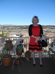 Red dress day (krislagreen) Tags: red black belt pumps highheels dress cd tgirl transgender transvestite crossdress tg cardi patent feminization feminized