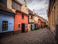 Golden Lane, Prague Castle (Halibel14) Tags: street color pen lens lumix prague olympus czechrepublic goldenlane praguecastle prazskyhrad epl1