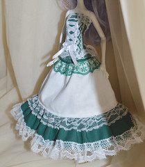 Monster high green and white set (ceressiass) Tags: white green monster promotion shop de miniature high doll long forrest princess handmade ooak skirt victoria queen clothes lolita catherine fantasy corset etsy custom mattel regal mew elven