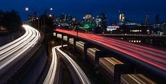 Inbound | Outbound (sunrisesoup) Tags: seattle longexposure usa night wa lighttrails capitolhill mlkday cartrails