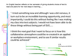 Educational Postcard: An English teacher reflects on her next steps for using student voice and choice with text selection (Ken Whytock) Tags: new opportunity english reading goal text atmosphere class read teacher learning nervous environment collaborative incredible learn semester results reflects englishteacher achieved