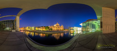 Guckfenster (Nachtwchter) Tags: panorama berlin nightshot reichstag architektur bluehour spree dri hdr nachtaufnahme regierungsviertel berlinmitte blauestunde tonemapping