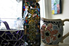 Mosaics everywhere! (EarthMotherMosaics) Tags: flowers cats moon mosaics stainedglass letitsnow vases snowday midcenturymodern gazingball earthmothermosaics