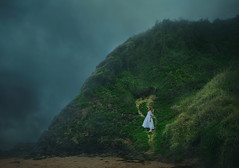 The great tempest (Deltalex.) Tags: ocean blue wild portrait sky woman storm green beach girl grass clouds outside gold photographer wind fineart hill sydney australia wilderness conceptual tempest bombo nikond600 southcoastaustralia deltalex madelinemasarik alexbenetel