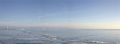 Minimalism (Marijke M2011) Tags: blue winter sky panorama lighthouse lake outdoors island frozen vuurtoren emptiness marken ijsselmeer frozenlake touristic markermeer hetpaard driftingice
