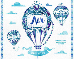 Air Balloons Blue. Watercolor handpainted clipart, hot air ballon, diy elements, invitation, boho, clip art, quote posters, clouds, ribbons (octopusartis) Tags: wedding hot art floral clouds digital watercolor poster cards diy quote air balloon clip invitation clipart download instant greetings suite invite