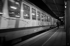 City Train (Fred Luckythirteen) Tags: city black monochrome station night train canon evening blackwhite noir gare noiretblanc gimp powershot soir nuit blanc ville noirblanc g7x rawtherapee noiretblanc|france