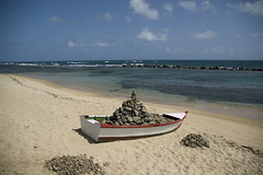 Wish boat _ Yola boat, Stone, Mixed media _ Dimensions variable