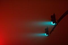 Green Beams (JasonCameron) Tags: road street winter light cold weather fog night utah traffic inversion signal