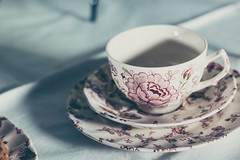 Pre-Caffeine (lifeless567) Tags: life china lighting light food white cute cup coffee beautiful field canon studio table eos still day bright tea drink beverage mother plate indoor mothers indoors mug caffeine depth saucer 70d