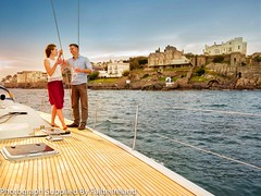 Dalkey Island  Colimore Harbour (infomatique) Tags: sea dublin castle nature boat couple yacht champagne drinking romantic coastline killiney dnlaoghaire dalkeyisland manorhouses