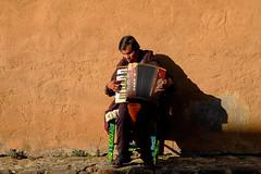 Patzcuaro,  Michoacn, Mexico (Timothy Neesam (GumshoePhotos)) Tags: portrait musician music wall mexico fuji blind fujifilm michoacn accordian patzcuaro xt1