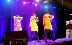 Kaido Faces Down (Sakuramai Toronto) Tags: travel music orange canada color girl yellow japan pose japanese lights dance costume concert purple montreal stage group performance indoor dancer indoors   yosakoi  ilovejapan