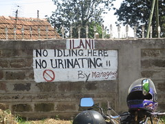 "Nairobi sign: ""No idling here, no urinating by Management"" (John Steedman) Tags: africa kenya nairobi afrika kenia afrique eastafrica ostafrika     afriquedelest"