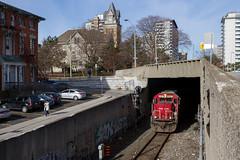 Hunter Street (Ryan J Gaynor) Tags: city railroad train downtown cityscape angle hamilton railway tunnel trains canadianpacific sooline cp soo rare railfan hamiltonontario railroading steeltown emdsd60 hamiltonsubdivision hunterstreettunnel