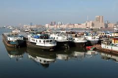 Crowded (mennomenno.) Tags: boats harbour thenetherlands bluesky schepen maashaven rotterdamzuid blauwelucht