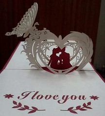 Valentine's Day - Love Paper Cutting Free Paper Craft Template Download (PapercraftSquare) Tags: love valentinesday papercutting