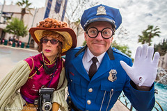 Phi Phi Frances and Officer Blue (Samantha Decker) Tags: california ca disneyland wideangle socal anaheim themepark disneyscaliforniaadventure buenavistastreet canonef1635mmf28liiusm canoneos6d samanthadecker