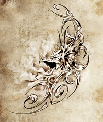 Sketch of tatto art, decorative medieval dragon (noor.khan.alam) Tags: china new old pink light woman white flower art girl beautiful silhouette monster tattoo illustration hair paper asian design sketch flying spain ancient colorful pretty pattern child dragon dress graphic artistic drawing decorative background magic grunge traditional year cartoon chinese decoration creative style elf fairy fantasy claw clipart octopus warrior eastern mythology isolated element tatto