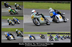 Harley Rushton in action (JDPhotography -) Tags: collage collages motorcycles motorcycleracing johndavies canonef100400mmf4556lisusm crmc classicracingmotorcycleclub jdphotography picasa3 pembreyracetrack copyrightjohndavies barcpembrey pembreycircuit canoneos7dmark11 harleyrushton