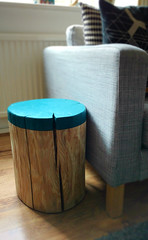 Log Side Table with dip effect in Marine Blue by The Log Basket (The Log Basket) Tags: log rustic handpainted decor plinth pedestal sidetable sofatable naturalwood dipdye logtable thelogbasket logstump logstool thelittlegreenepaintcompany