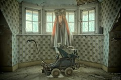 Ghost Reveries (Szydlak Szk) Tags: door windows wedding shadow baby house texture abandoned window dead toy toys death wooden chair peeling paint doors dress stroller decay ghost corridor indoor eerie ceiling spooky nostalgia prom forgotten villa mysterious horror nostalgic fotografia forsaken desolate derelict hdr deteriorated decayed decaying hdri forlorn defunct rosemarys zabawki reveries verfall vergiven zabawka verlassene abandonata abandonato szydlak