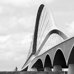 - the human element - (Jacqueline ter Haar) Tags: bridge bw architecture nijmegen angle explore human brug fiets thecrossing fietser deoversteek stadsbrug