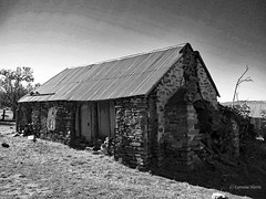 Tumbled Down Farm (aussiegypsy_tropical FNQld) Tags: old windows roof chimney blackandwhite bw house building history abandoned monochrome stone rural landscape mono scenery farm small country farming australian dry australia scene era boardedup sa aussie desolate southaustralia derelict pioneer corrugatediron brokendown adelaidehills bygone earlysettler lifeontheland palmerhill