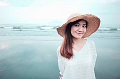 Charming Woman ( aikawake) Tags: blue portrait woman green love beach beautiful beauty smile female wonderful happy pretty outdoor happiness grace charming ricohgr strawhat tempting  enchanting   fairness   loveliness pulchritude bewitch  goodliness