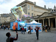 City of Bath, England, massive blown bubble (rossendale2016) Tags: street charity city uk england mobile advertising soap bath tourist surgery help health doctor massive nhs bubble service nurse unusual colourful van iconic checking clever attraction diabetic blown photogenic physician