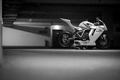 Ready to Race (bjoern.gramm) Tags: bw white black garage bridgestone ktm motorcycle superbike motorrad racebike actionteam rc8