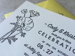 Sunshine poppy wedding invitation (artnoose) Tags: california wedding summer flower sunshine yellow illustration botanical berkeley celebration invitation card poppy envelope custom letterpress lettra deepinkletterpress
