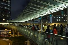 Central, Hong Kong. (Rhodiumstar) Tags: city bridge light people urban hk building night hongkong asia steel central roads