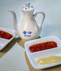 Soy, chilli and mustard sauces (Victor Wong (sfe-co2)) Tags: color macro asian colorful chili close sauce paste plate tray service soy chilli oriental seasoning chineserestaurant decanter