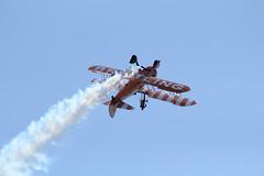Inverted flying (charliejb) Tags: sky plane flying aviation smoke aeroplane devon propellor breitling dawlish wingwalkers 2013 dawlishairshow breitlingwingwalkers
