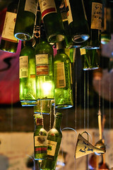 Wine bottle lamp (Julioafoto) Tags: original light green lamp restaurant bottle wine decoration