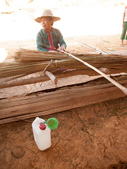 Palaung Woman Weaving Bamboo Panels, Shan State, Myanmar, 2016 (deemixx) Tags: bamboo hut myanmar weaving shanstate palaungtribe