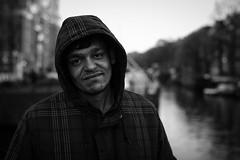Facial expression (Pan) Tags: street city portrait bw white man black amsterdam 50mm prime canal nikon bokeh candid canals unknown 28 18 50 nieuwendijk d600
