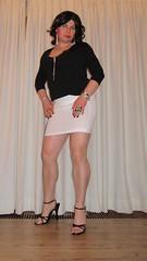 black and white (Barb78ara) Tags: highheels stilettoheels miniskirt pantyhose nylon blacknails blacktop whiteskirt blacksandals blackheels whiteminiskirt
