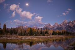 Moon set over the Tetons (jeffloomis1) Tags: moon mountains reflection landscape tetons grandtetonnationalpark