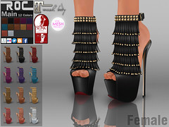 ::ROC:: Candice Heels (ROC FASHION) Tags: red woman white black hot sexy girl leather female roc boot back high cool shoes punk pumps toe dress mesh platform fringe sl secondlife footwear sling heel peep stiletto ankle tassel rigged tmp maitreya slink fatpack roscee