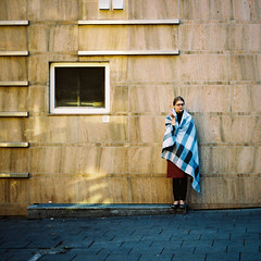 Chill (yegor.staselka) Tags: woman color film square cozy break sunny smoking lithuania vilnius