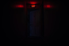 Door Left Open (Evan's Life Through The Lens) Tags: life door camera blue shadow red college glass sign mystery night dark myself lens day angle dorm wide lazy 24mm exit ultra t15 suspence rokinon a7s