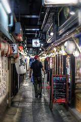 Alleway Commute (JRaptor) Tags: street people urban food japan bar restaurant tokyo drink traintracks hdr yurakucho shinbashi yamanoteline nikond4s