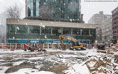 Snowy Construction Site (P2054138) (Michael.Lee.Pics.NYC) Tags: winter snow newyork construction flash olympus astorplace mkii markii lafayettestreet 2016 em5 1240mmpro28