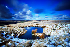 Moorland Pool (Craig Hannah) Tags: uk longexposure winter england sky snow reflection pool clouds yorkshire oldham pennine peakdistrictnationalpark moorland uplands saddleworth 2016 greatermanchester westriding broadstones bigstopper craighannah