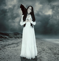 Blackon (iblushay : Thank you for visiting and the faves) Tags: wedding photomanipulation photoshop blackcat weird photo outdoor deception kitty illusion photographs gown deviantart imageediting