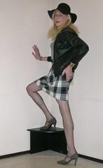 A plaid skirt. (sabine57) Tags: stockings hat drag tv pumps highheels cd skirt crossdressing tgirl transgender jacket tranny transvestite crossdresser crossdress leatherjacket leotard nylons travestie transvestism seamedstockings seamednylons