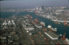 Harbor Island and Duwamish Waterway, circa 1980 (Seattle Municipal Archives) Tags: seattle docks piers skylines shipping 1980s harborisland aerials kingdome wharves duwamish waterfronts seattlemunicipalarchives